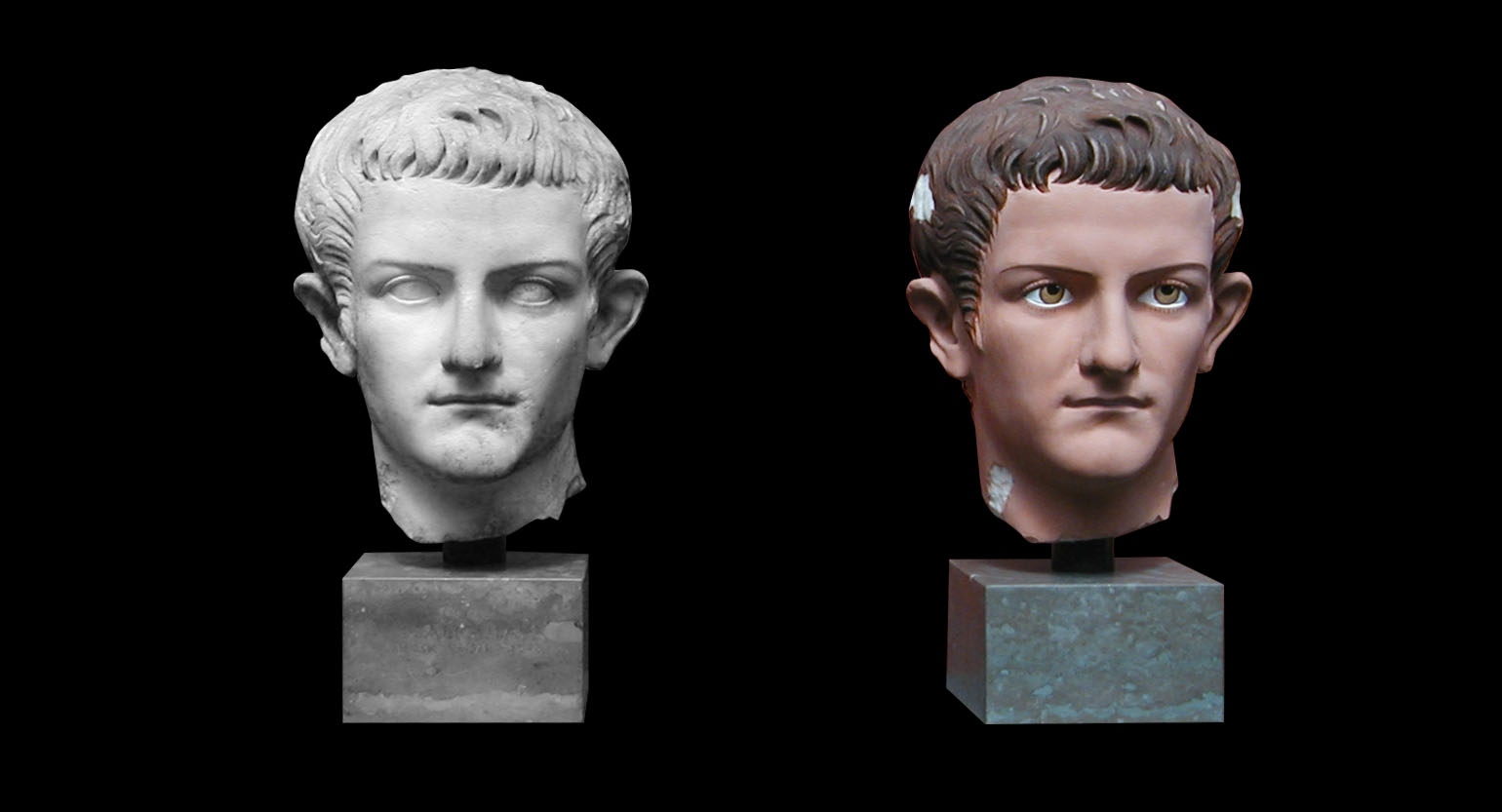 Black and White bust of Caligula Next to a Colourful bust of Caligula