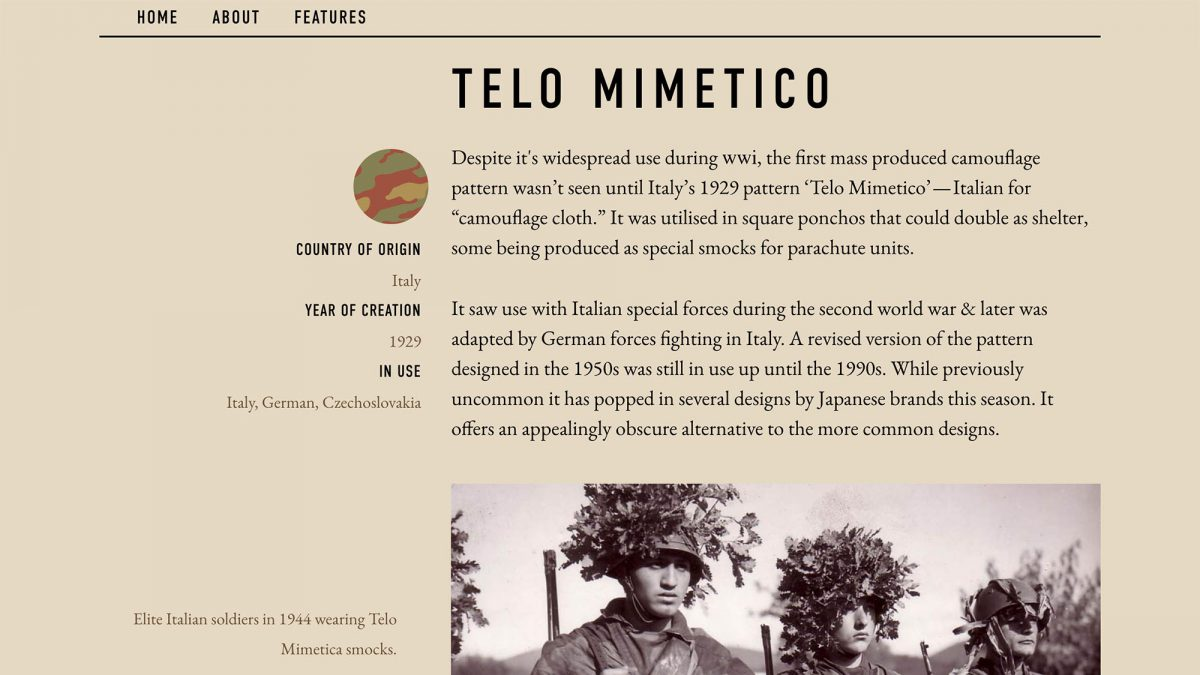 Epochs Field Guide To Camouflage Telo Mimetico