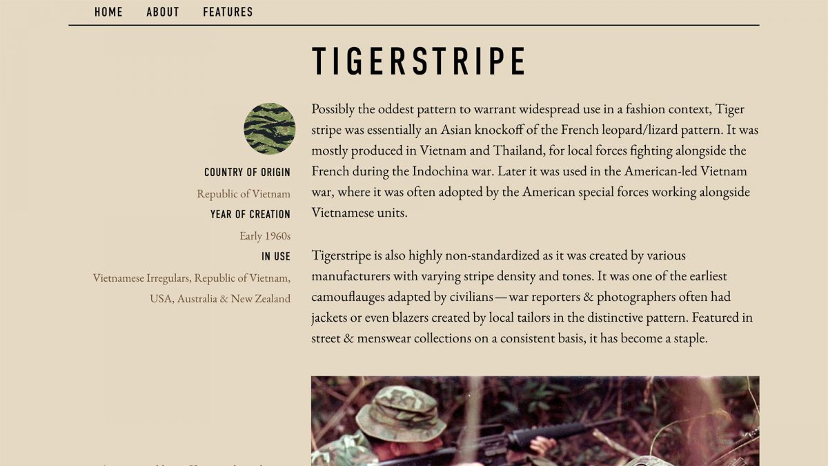 Epochs Field Guide To Camouflage Tiger Stripe Camo
