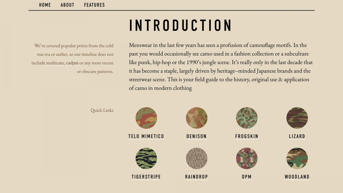 Epochs Field Guide To Comouflage Intro